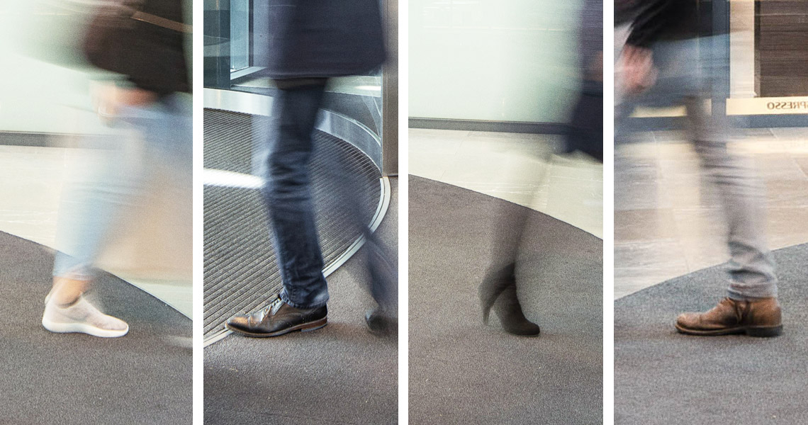 Four images with walking feet in foreground, with motion blur